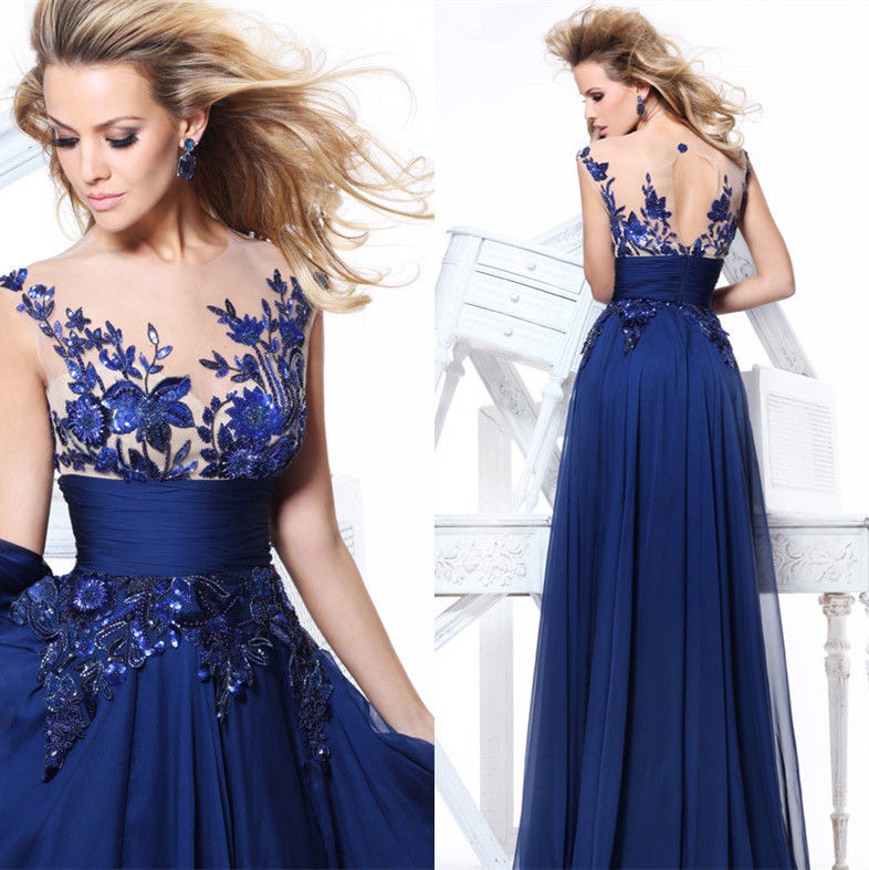 Royal blue lace prom dresses 2018